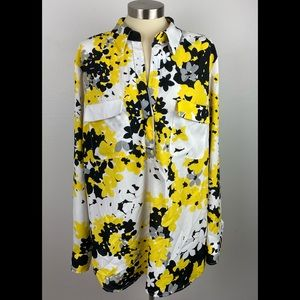 New York & Co XL Black Yellow Blouse Roll Sleeves